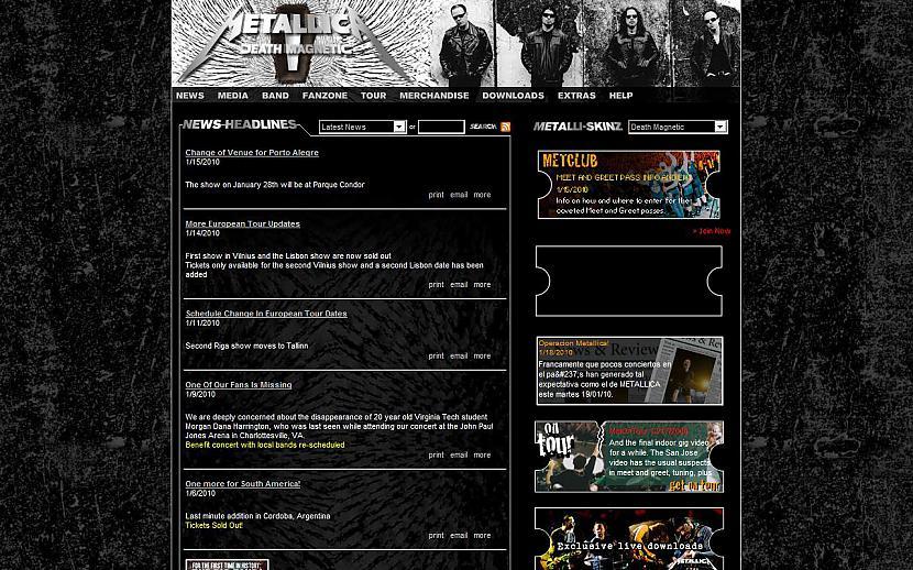 METALLICA httpwwwmetallicacom Autors: Liver Mūziķu / muzikālo apvienību mājas lapas