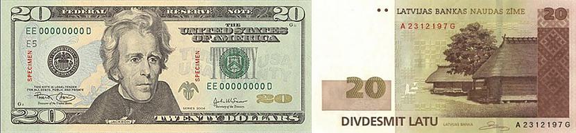 ASV 20 dolāri un Latvijas 20... Autors: colorful ASV-Latvija
