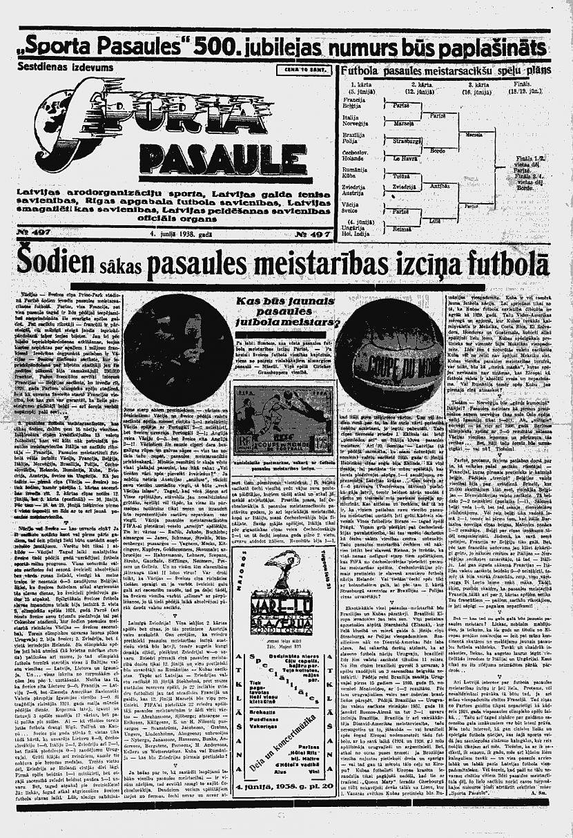 1938 gada 4 jūnija Sporta... Autors: Ihonujmans Avīzes Latvijā pirms II pasaules kara.
