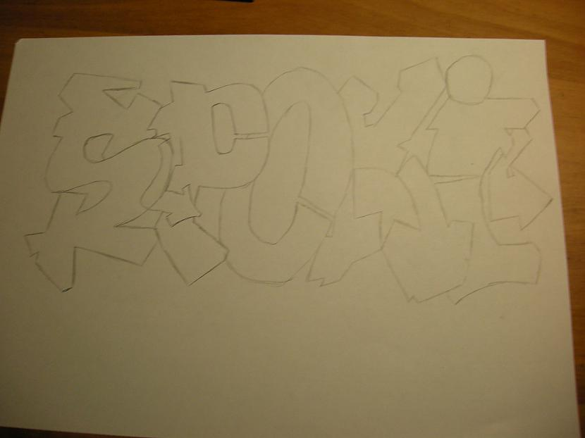 Sākumā ar zīmulīti kontūras D Autors: Kazas kungs Kā es zīmēju graffiti