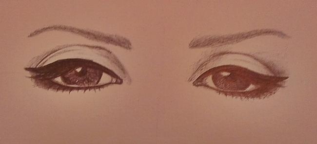 Abas acis jau gandrīz gatavas... Autors: Siluets Mēģinot zīmēt ar pildspalvu.