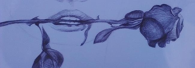 Tad sāk tapt rozīte Autors: Siluets Mēģinot zīmēt ar pildspalvu.