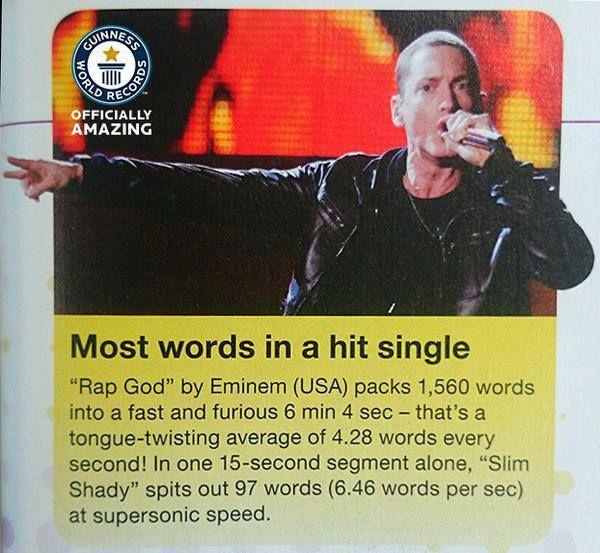 Eminems ir nokļuvis arī Ginesa... Autors: Fosilija Fakti par Eminemu.