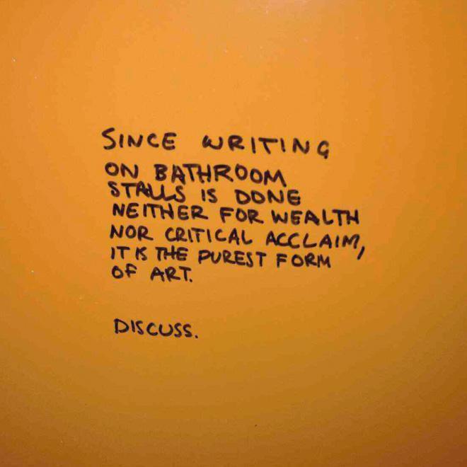 Autors: matilde Lieliski uzraksti uz tualetes sienām