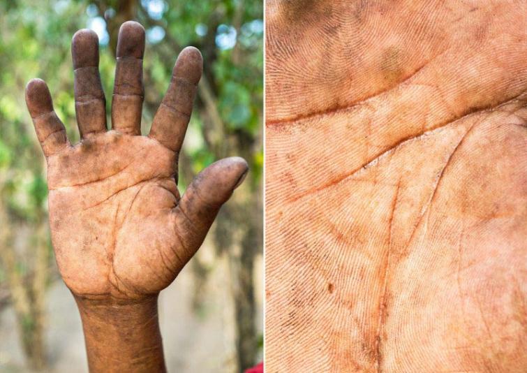 Kalējs Autors: matilde Fotogrāfs, kurš atrāda dažādu cilvēku profesijas caur viņu rokām