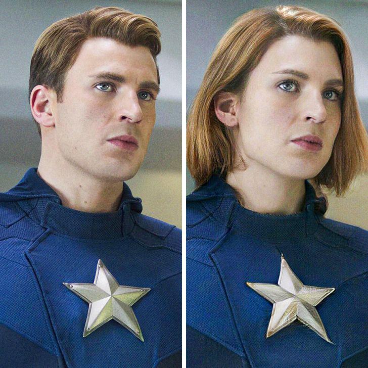 Kapteinis Amerika Autors: matilde Lūk, kā izskatītos slaveni supervaroņi, ja viņi būtu sievietes (18+ foto)