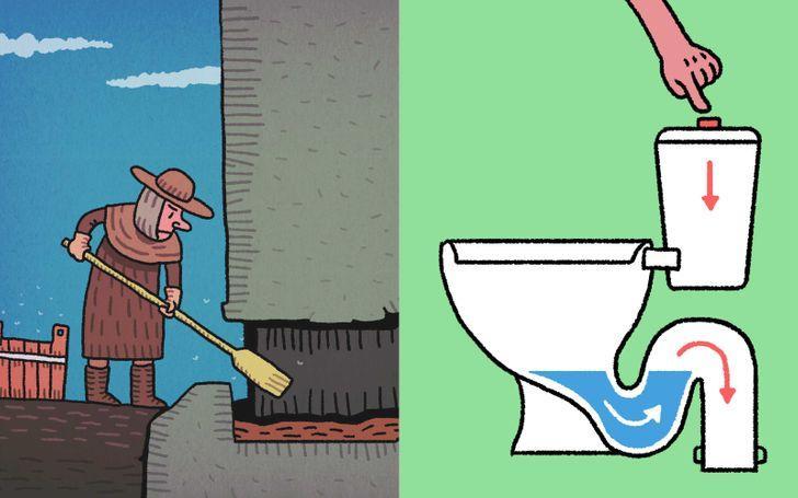 """Tās vajadzēja manuāli... Autors: Lestets 10 fakti par senajām """"atpūtas telpām"""" jeb tualetēm un vannasistabām"""