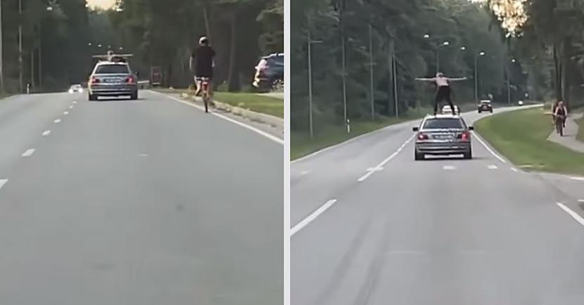Aculiecinieka publicētajā... Autors: matilde Video: Saulkrastos pārgalvīgs pasažieris brauciena laikā uzkāpj uz BMW jumta